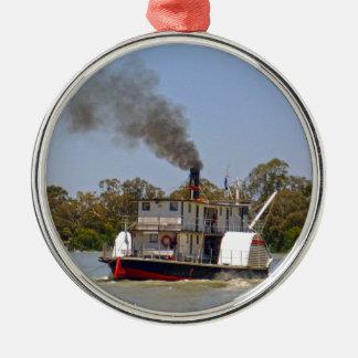 Paddel-Dampfer, der hinunter den Fluss tuckert, Silbernes Ornament