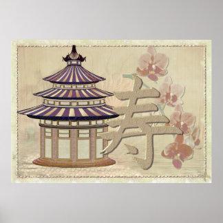 Pagoden-Rosen-Mischmedien orientalisch Poster