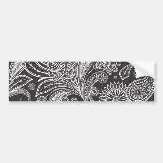 Paisley-Hintergrund, Paisley-Motiv - Schwarz-weiß Autoaufkleber
