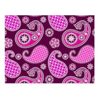 Paisley-Muster, pinkfarbenes Rosa, lila und weiß Postkarten
