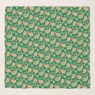 Paisley-Muster, weiches Gold auf Smaragdgrün Schal