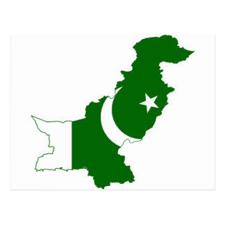 Pakistan-Karten-Flagge Postkarte