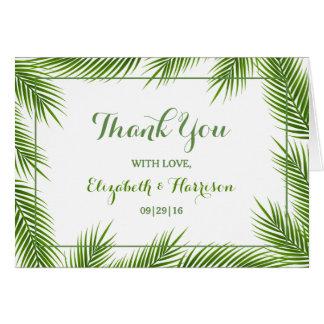 Palmblatt-danken tropische Strand-Hochzeit Ihnen Mitteilungskarte