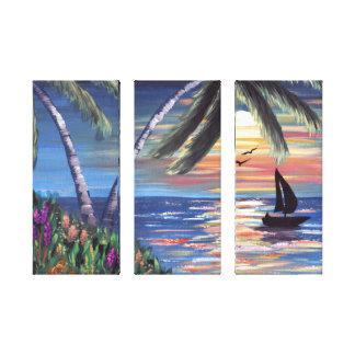 Palme-Sonnenuntergang-Ozean-Malerei Gespannter Galeriedruck