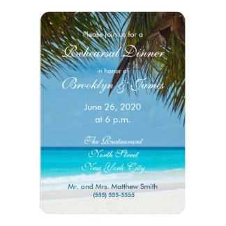 Palmen auf Strand-Hochzeits-Proben-Einladungen 12,7 X 17,8 Cm Einladungskarte