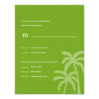 Palmen, die RSVP/Response Karten (Grün, Wedding 10,8 X 14 Cm Einladungskarte