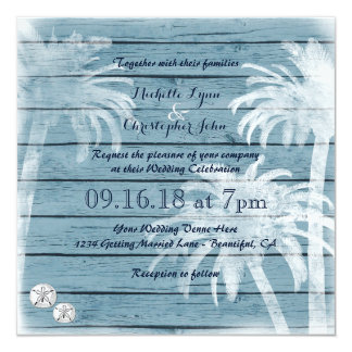 Palmen, Sand-Dollar-hölzerne Strand-Hochzeit laden Karte