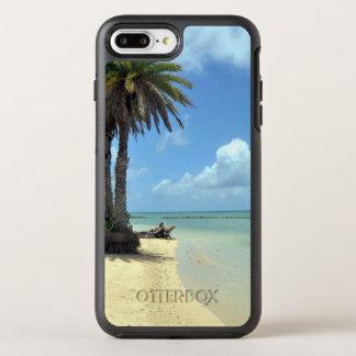 Palmen und Sand-landschaftliche Insel OtterBox Symmetry iPhone 8 Plus/7 Plus Hülle
