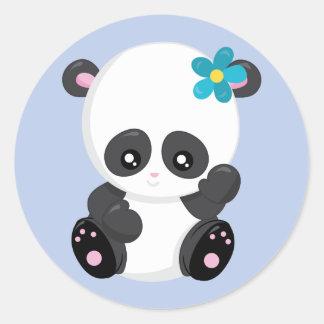 Panda-Bärn-Wellen-Blau Runder Aufkleber
