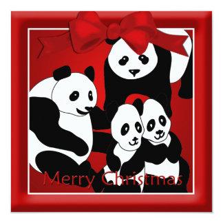 Panda-Familien-Weihnachtsgruß Quadratische 13,3 Cm Einladungskarte