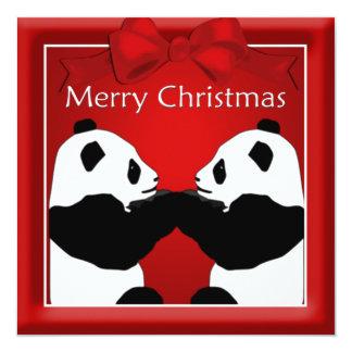 Panda-Freund-Paar-Weihnachtsgruß Quadratische 13,3 Cm Einladungskarte