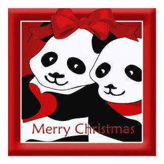 Panda-Liebe-Paar-Weihnachtsgruß Quadratische 13,3 Cm Einladungskarte