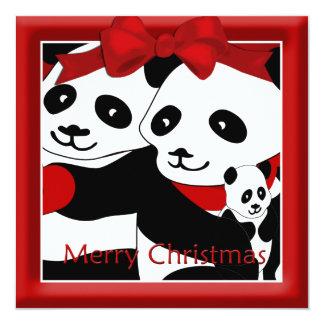 Panda-Paare und Baby-Weihnachtsgruß Quadratische 13,3 Cm Einladungskarte