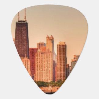 Panorama von Chicago-Skylinen am Sonnenaufgang Plektrum
