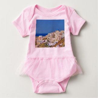 Panoramablick von Santorini Baby Strampler