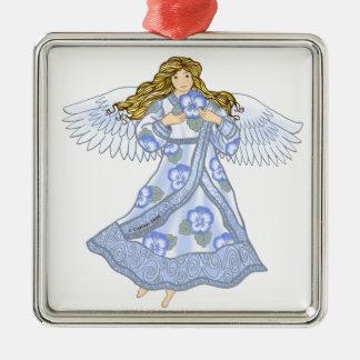 Pansy-Engelsmetallverzierung Quadratisches Silberfarbenes Ornament