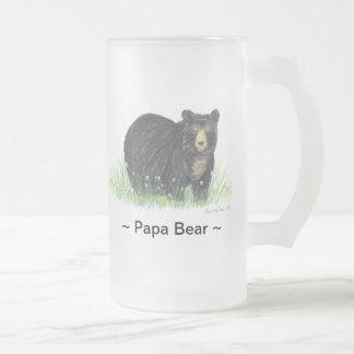 ~Papa Bär ~ schwarzer Bärn-Fahrwerk. GlasTasse Matte Glastasse