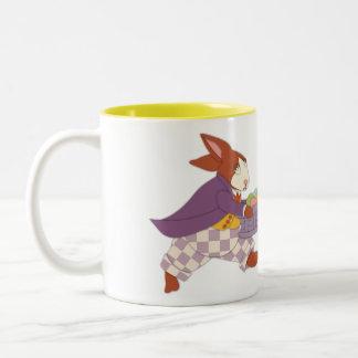 Papa-Häschen mit der Ei-Tasse Zweifarbige Tasse