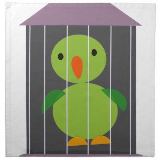 Papagei im Käfig Stoffserviette