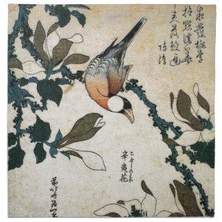 Papagei und Blumen Stoffserviette