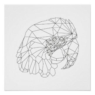 Papageien-geometrische schwarze u. weiße poster