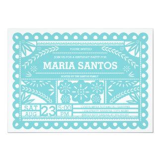Papel Picado Geburtstags-Party laden - Blau ein 12,7 X 17,8 Cm Einladungskarte