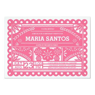 Papel Picado Geburtstags-Party laden - Rosa ein 12,7 X 17,8 Cm Einladungskarte
