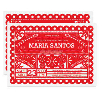 Papel Picado Geburtstags-Party laden - Rot ein Karte