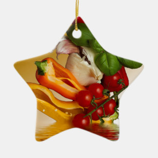 Paprikaschoten-Basilikum-Tomate-Knoblauch Keramik Stern-Ornament