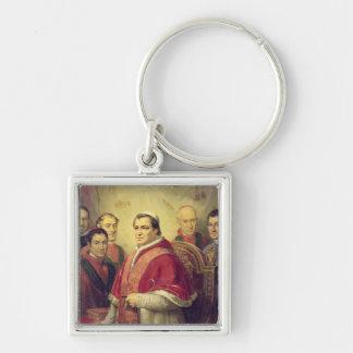 Papst Pius IX 1847 Silberfarbener Quadratischer Schlüsselanhänger