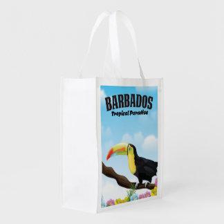 Paradies-Reiseplakat Barbados tropisches Wiederverwendbare Tragetaschen
