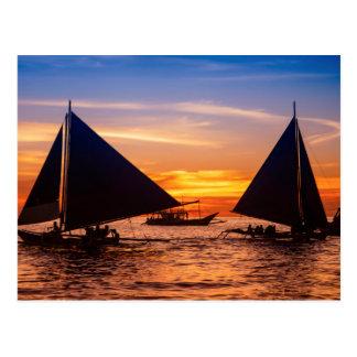 Paraw Segeln am Sonnenuntergang |Philippines Postkarte