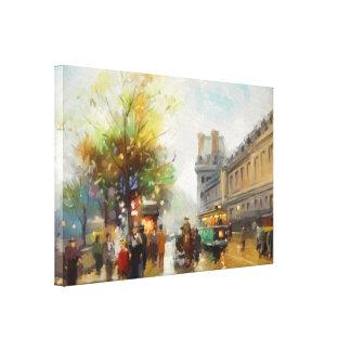 Paris an einem regnerischen Tag. Aquarell-Malerei Leinwanddruck
