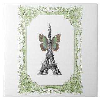 Paris-Eiffelturm mit Flügel-Fliese Trivet Große Quadratische Fliese