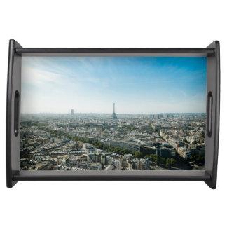 Paris Frankreich und Eiffelturm bis zum Tageszeit Tablett