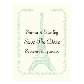 Paris-Hochzeitsminze Eiffel-Turm Save the Date Postkarte