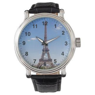 Paris-La-Ausflug Eiffel auf klarer Fotografie des Armbanduhr