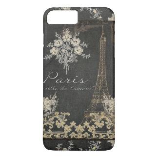 Paris-Stadt der Liebe-Eiffel-Turm-Tafel mit Blumen iPhone 8 Plus/7 Plus Hülle