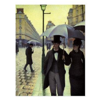 Paris-Straßen-regnerischer Tag durch Gustave Postkarte