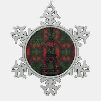 Paris-Weihnachtsmuster-Entwurf Schneeflocken Zinn-Ornament