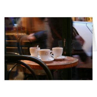 Pariser Atmosphären-Kaffee-Gast-oder Geist-Karte Karte