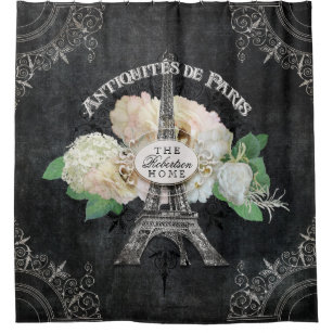 Pariser Vintager antiker Blumenturm paris Eiffel Duschvorhang