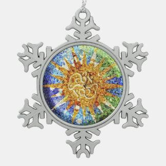 Park Guell Mosaiken Schneeflocken Zinn-Ornament