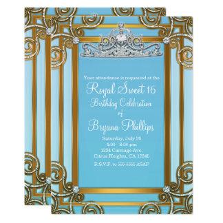Party Blau-u. Goldprinzessin-Crown Tiara Sweet 16 Karte
