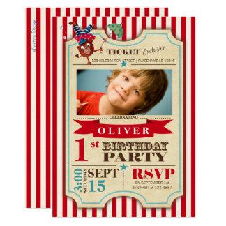 Party Einladung des Zirkus-Karten-1. Geburtstags-|