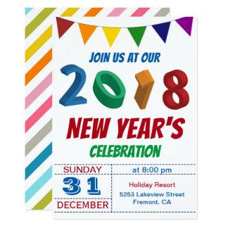 Party Einladung Spaß-bunte 2018 Sylvesterabends