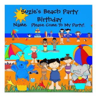 Party Einladungs-Geburtstags-Strand-Mädchen-Kinder Quadratische 13,3 Cm Einladungskarte