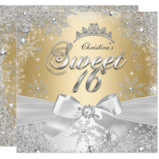 Party Prinzessin-Winter Wonderland Gold Sweet 16 Karte