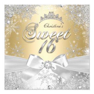 Party Prinzessin-Winter Wonderland Gold Sweet 16 Quadratische 13,3 Cm Einladungskarte