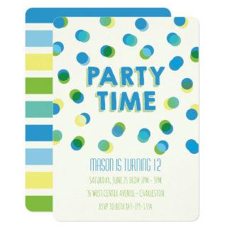 Party punktiert Kindergeburtstag-Einladung Karte